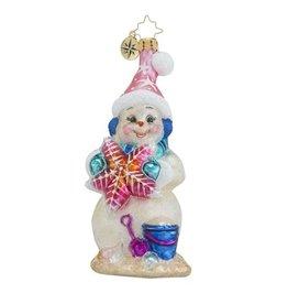 Christopher Radko Christmas Ornament Sea Shore Sandy Snowman-woman
