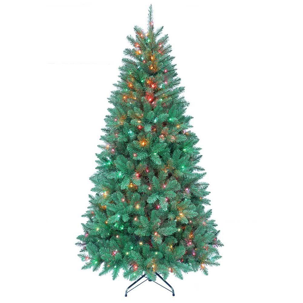 Christmas Tree Pre-Lit 7 FT Pine Tree w 350 Multi Color Lights 1026 ...