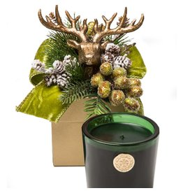 LUX Candles Fragrances Christmas 14oz Glass Votive in Flower Box Deer TANNENBAUM