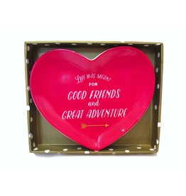 Twos Company Heart Trinket Tray w Life Was Meant For Good Friends and Great Adventure