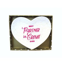 Twos Company Heart Trinket Tray w Best Partner In Crime Ever 80805-20-C