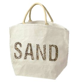 Twos Company Jute Bag With Beaded Text SAND by Twos Company