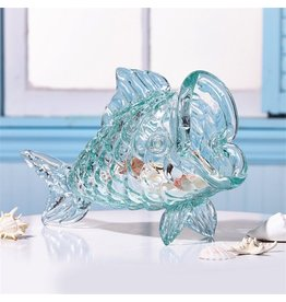 Twos Company Decorative Glass Fish Decor Shelf Table PIece 51486