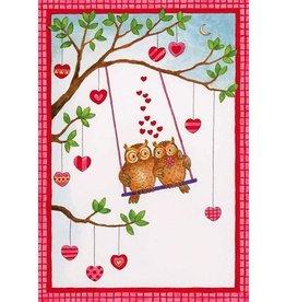 Caspari Valentine's Day Card 86405.14 Owls On Swing Valentine Card