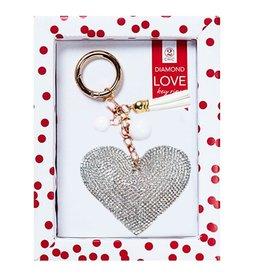 Twos Company Diamond Love Keychain 80803-20-HEART-SILVER by Twos Company