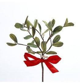 Kurt Adler Christmas Mistletoe Pick with Red Satin Bow