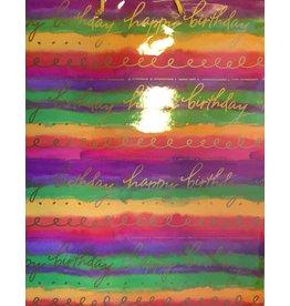 Caspari Happy Birthday Gift Bag Large 12wx15hx6D