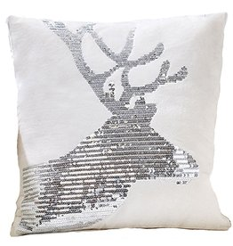Twos Company Christmas Velvet Sequin Reindeer PIllow HEAD-RIGHT