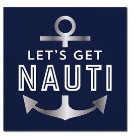Slant Foil Anchor Lets Get Nauti Cocktail Beverage Napkins 20ct F155518 Slant
