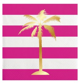 Slant Cocktail Beverage Napkins 20ct F146577 Palm Tree Foil