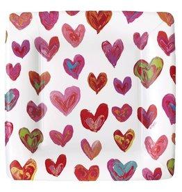Caspari Valentine Happy Hearts Salad Dessert Paper Plates 13640SP Caspari
