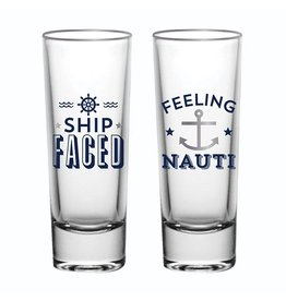Slant Shot Glasses Set of 2 2oz Ship Faced Feeling Nauti F155407 Slant
