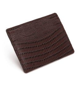 WOLF Blake Card Wallet Mens 306058 Brown Teju Lizard Embossed Leather