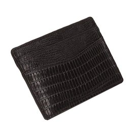 WOLF Blake Card Wallet Mens 306058 Black Teju Lizard Embossed Leather