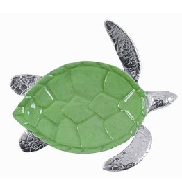 Mariposa Sea Turtle Server Silver and Green 1763-G 14x12