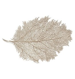Harman Metallic Leaf Fan Coral Placemat 12x18 Inch Champagne