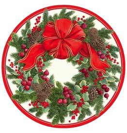 Caspari Paper Salad-Dessert Plates 13410SP Evergreen Wreath White 8pk