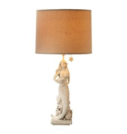 Midwest-CBK White Washed Mermaid Table Lamp w Shade 27.5H