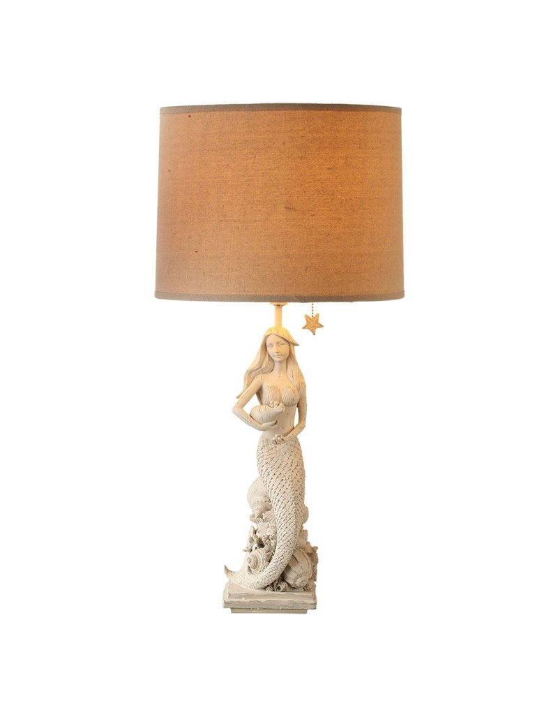 Mermaid table lamp - Midwest Cbk White Washed Mermaid Table Lamp W Shade 27 5h