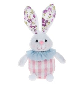 Midwest-CBK Plush Easter Bunny Sitter w Gingham-Floral Print 7702408-A