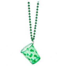 Midwest-CBK Irish-St Patricks Day Glittered Shot Glass Necklace