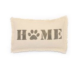 MFH Cotton Pillow 12x18 w Home Paw Print -Natural w Dorian Grey