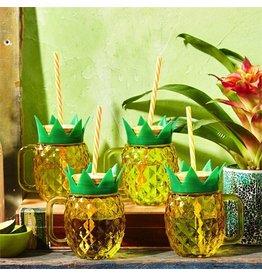 Twos Company Pineapple Mason Jar Cups w Straws Set of 4 by Twos Company