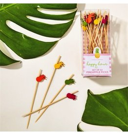 Twos Company Pineapple Tooth Picks Set of 50 Asst 4 colors