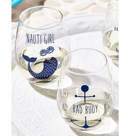 Twos Company Stemless Wine Glasses Set of 2 Nauti Girl and Bad Bouy