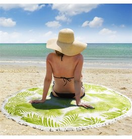 Twos Company Palm Leaf Print Round Beach Towel 59D inch | Twos Company