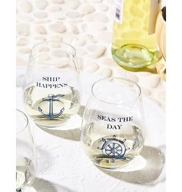 Twos Company Stemless Wine Glasses Set of 2 Ship Happens Seas The Day