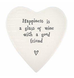 East of India Porcelain Heart Plate Coaster Keepsake E099 Happiness is a Glass of Wine