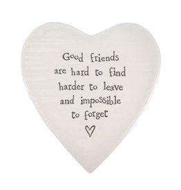 East of India Porcelain Heart Plate Coaster Keepsake E089 Good Friends are Hard to Find
