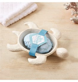 Twos Company Sea Turtle Soap Dish w Clearwater Scented Soap Gift Set