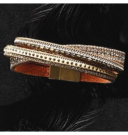 Twos Company Embellished Leather Bracelet w Magnetic Closure 11489-20-C