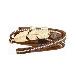 Twos Company Bead n Feather Wrap Bracelet w Magnetic Closure 11579-20-Mocha