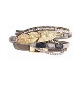 Twos Company Bead n Feather Wrap Bracelet w Magnetic Closure 11579-20-Grey