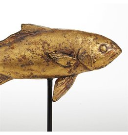 Tozai Home Distressed Gold Fish Sculpture On Black Stand 12x8