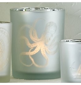 Twos Company Frosted Candleholder Silver LG 5in Octopus