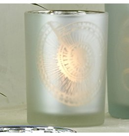 Twos Company Frosted Candleholder Silver MD 4in 51304-20-SILV-MD Nautilus