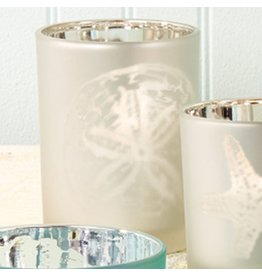 Twos Company Sealife Frosted Candleholder Silver MD 4 inch