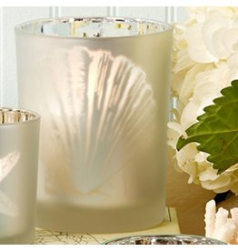 Twos Company Sealife Frosted Candleholder Silver LG 5 inch