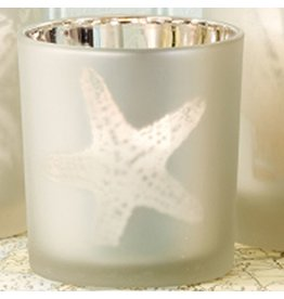 Twos Company Sealife Frosted Candleholder SM 3 inch