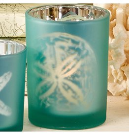 Twos Company Sealife Frosted Candleholder Aqua MD 4in 50895-20-BM Twos Company