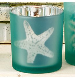 Twos Company Sealife Frosted Candleholder Aqua SM 3 inch