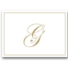 Caspari Gold Embossed Initial Note Cards Letter G Boxed Set of 8