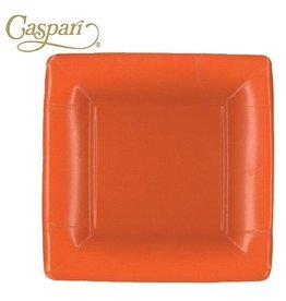 Caspari Paper Plates 8602SP Grosgrain Deep Orange Square Salad-Dessert Plates