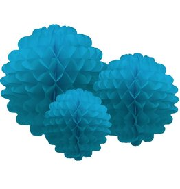 Party Partners Tissue Honeycomb Flower Pom Pom Set of 3 Aqua by Party Partners