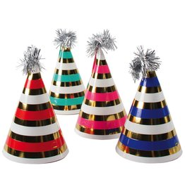 Party Partners Mini Party Hats 8pk Foil w Pom Poms by Party Partners