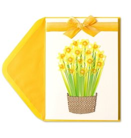 Papyrus Greetings Easter Card Handmade Daffodils in Basket by Papyrus